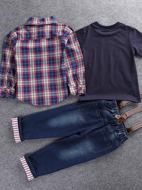 Plaid Shirt+Car Print T-Shirt+Jeans Boy's 3-Pcs Outfit