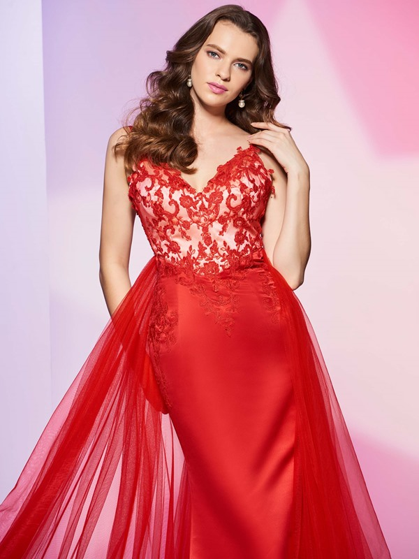 Fancy A-Line Spaghetti Appliques Button Watteau Train Prom Dress