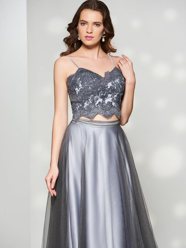 Stylish A-Line Spaghetti Straps Appliques Button Floor-Length Prom Dress