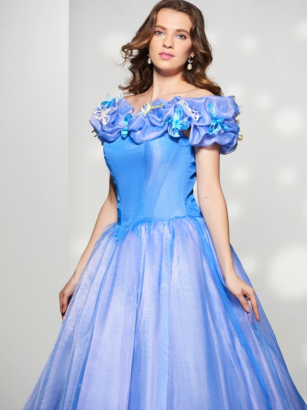 Off-the-Shoulder Pick-Ups Court Train Quinceanera Dress