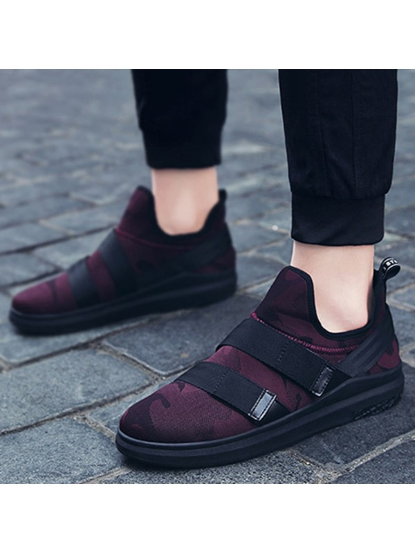 Cloth Camouflage Slip-On Round Toe Men's Sneakers