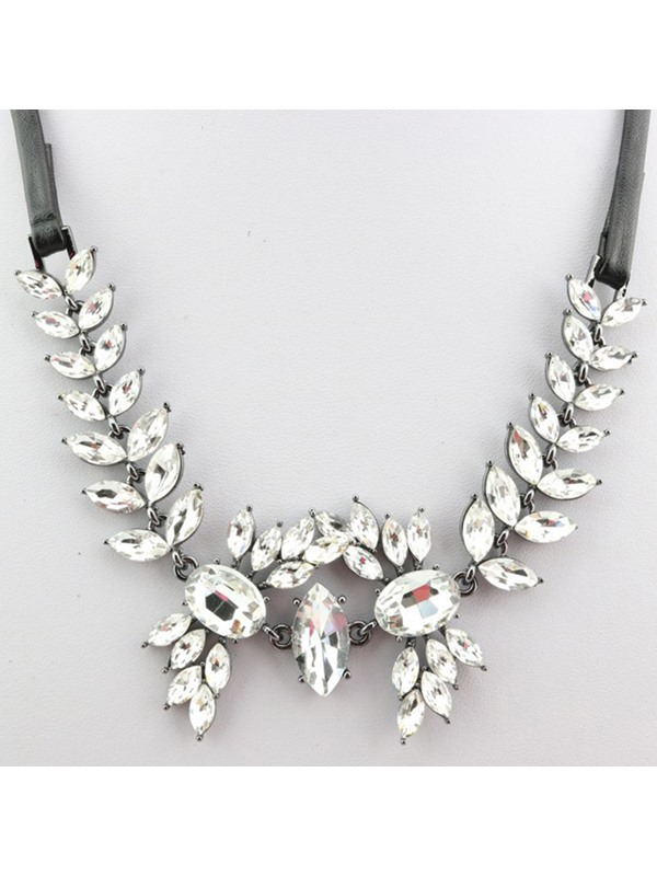 Artificial Leather Rope Diamante Pendant Necklace