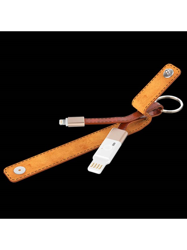 IDMIX MFI Certification 2 in 1 Key Chain Cowhide 8 Pin Lightning USB Data Sync Charging Cable