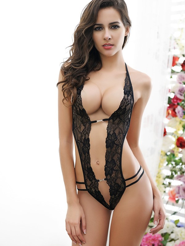 Sexy Bodysuit Halter See-Through Lace Teddy