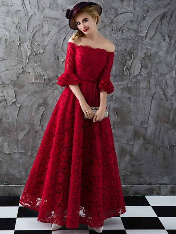Nice A-Line Off-the-Shoulder Half Sleeves Lace Sashes Evening Dress