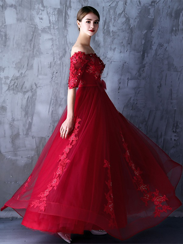 Fancy A-Line Off-the-Shoulder Half Sleeves Appliques Beading Bowknot Sashes Evening Dress