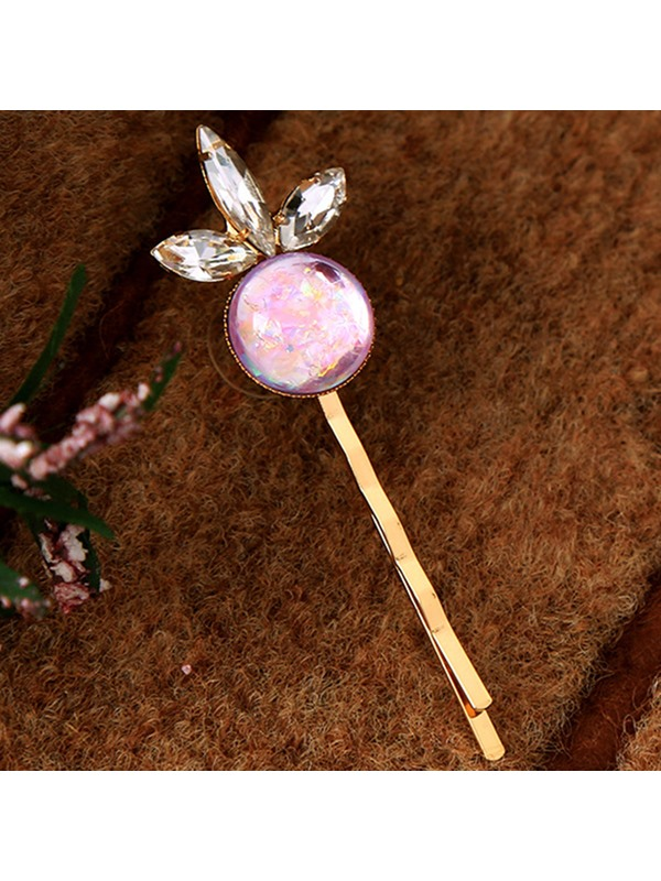 Lovely Pink Artificial Gemstone Inlaid Hairpin