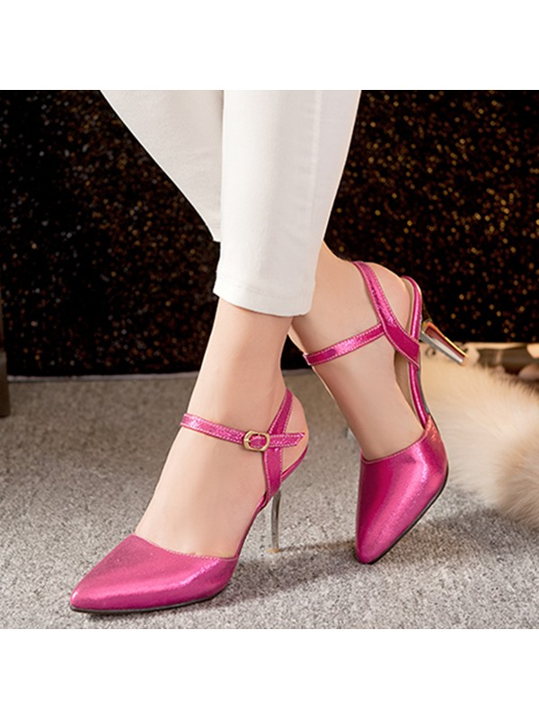 PU Line-Style Buckle High Heel Pointed Toe Women's Sandals