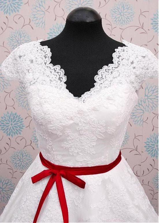 High Quality V Neck A Line Lace Reception Wedding Dress