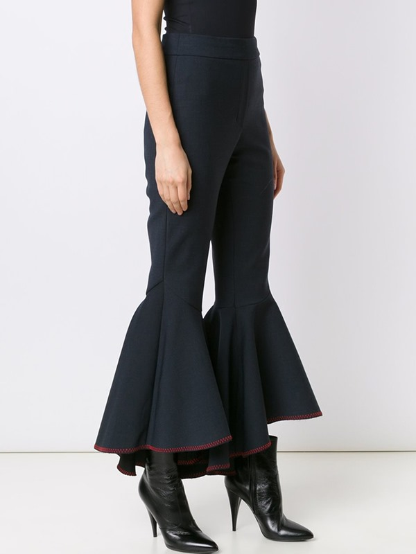 High Waisted Black Flared Women's Pants