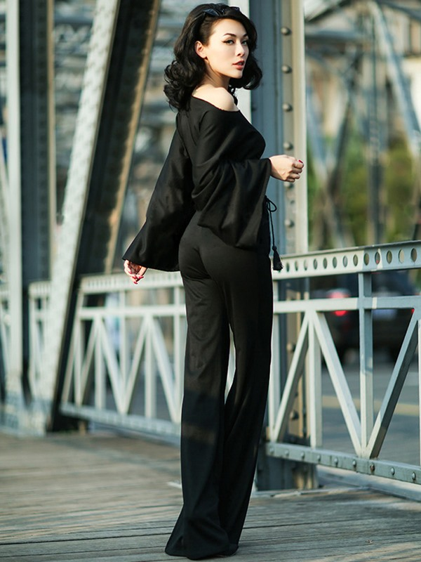 Boat Neck Bell Sleeve Black Elegant Women's Jumpsuits