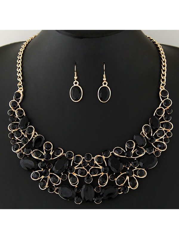Ellipse Imitation Gemstones Inlaid Women's Jewelry Set