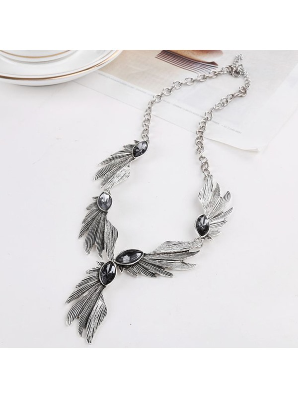 Pearl Inlaid Alloy Angel Wing Women's Necklace