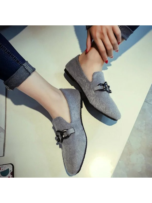 Korea Suede Square Toe Gray Thread Women's Flats