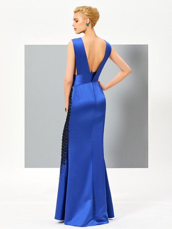 Sheath V-Neck Beading Split-Front Evening Dress