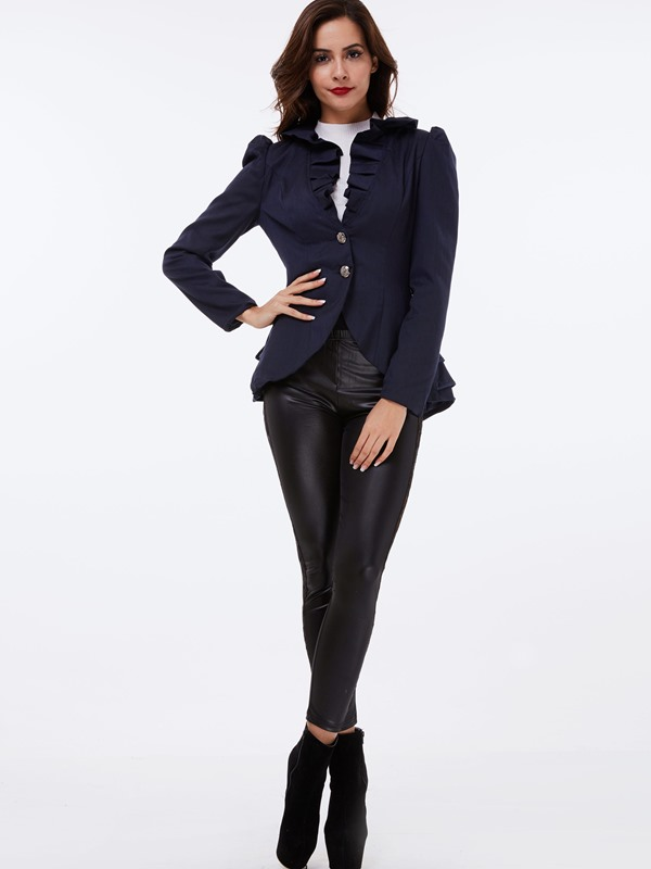 Stylish Falbala Tiered Two Buttons Women's Blazer