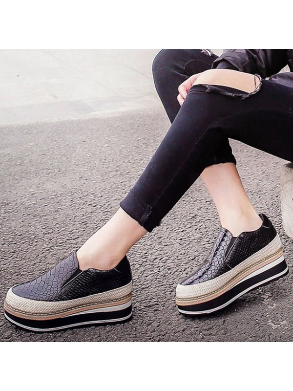 Embossed Leather Slip-On Platform Women's Fashion Sneakers