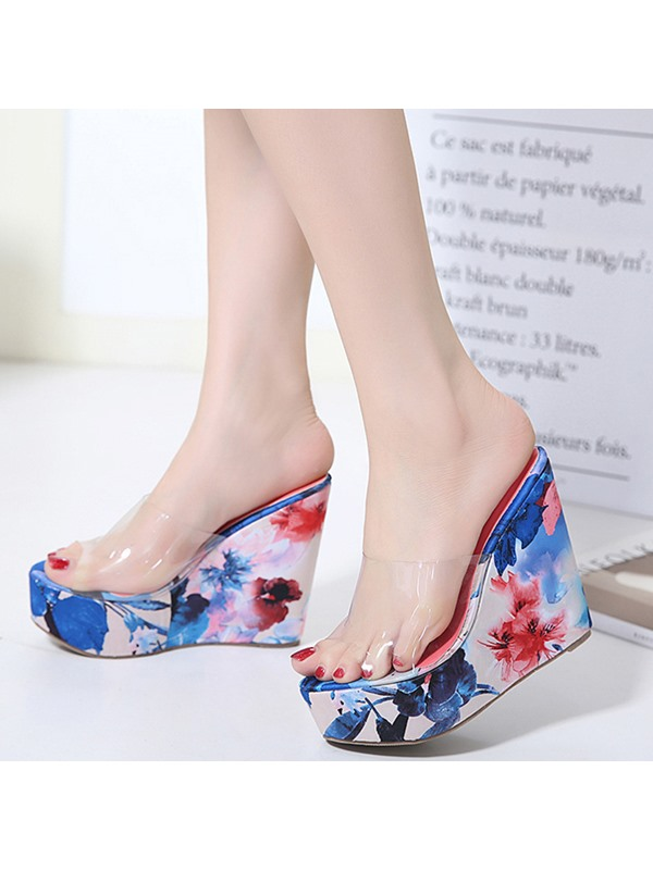 PU Slip-On Floral Wedge Heel Flip Flop Women's Shoes