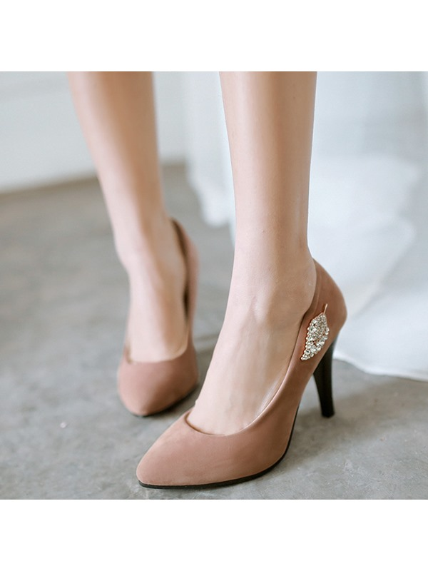 Elegant PU Slip-On Rhinestone Stiletto Heel Women's Pumps