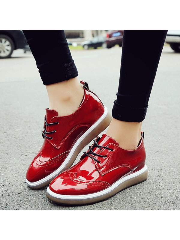Patent Leather Lace-Up Platform Women's Sneakers