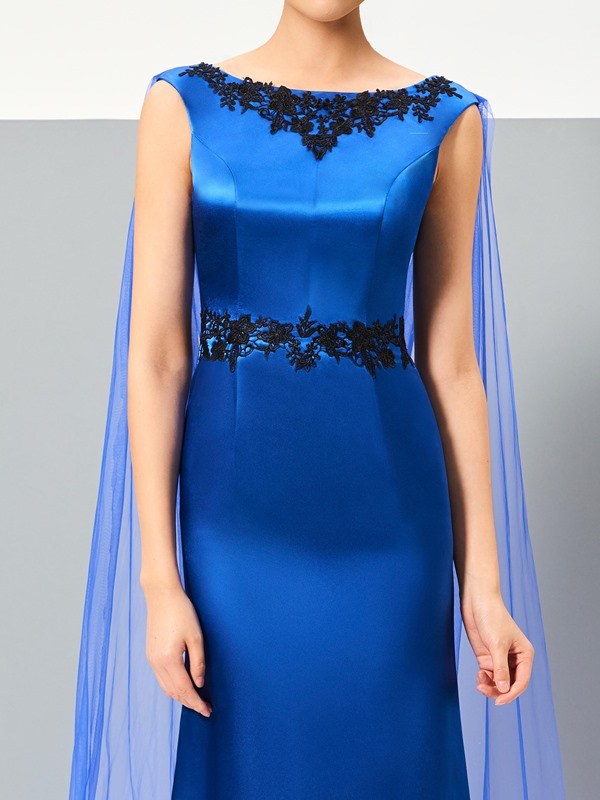 Fancy A-Line Bateau Appliques Watteau Train Evening Dress