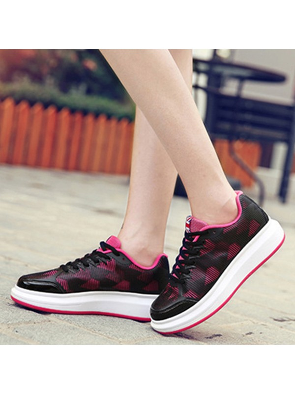 Mesh Lace-Up Platform Thread Colorful Women's Sneakers