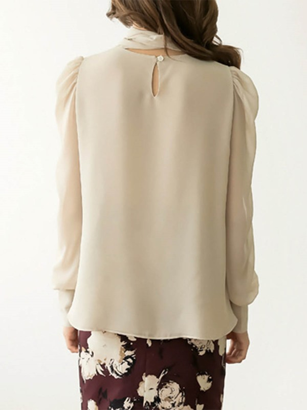 Tie Front Stand Collar Blouse