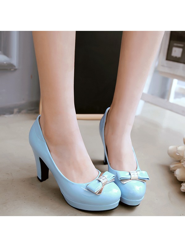 PU Slip-On Platform Bowtie Women's Classic Pumps
