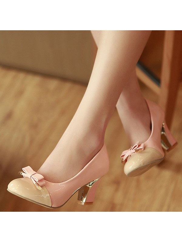 PU Slip-On Block Heel Bow Women's Classic Pumps