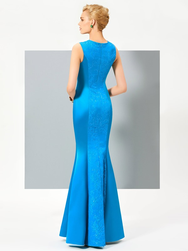 Stylish Scoop Mermaid Hollow Lace Floor-Length Evening Dress