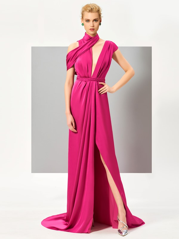 Unique A-Line High Neck Sashes Split-Front Sweep Train Evening Dress