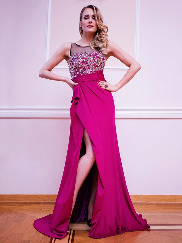 Gorgeous A-Line Scoop Appliques Beading Split-Front Brush Train Evening Dress
