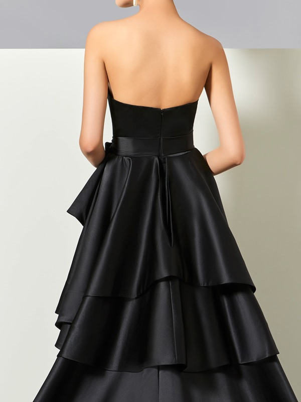 Strapless Bowknot Ruched Split-Front Tiered Evening Dress