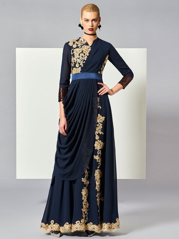 Jewel Appliques Draped Pleats Muslim Evening Dress