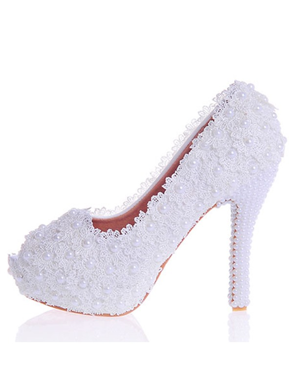 PU Lace Beads Slip-On Women's Wedding Shoes