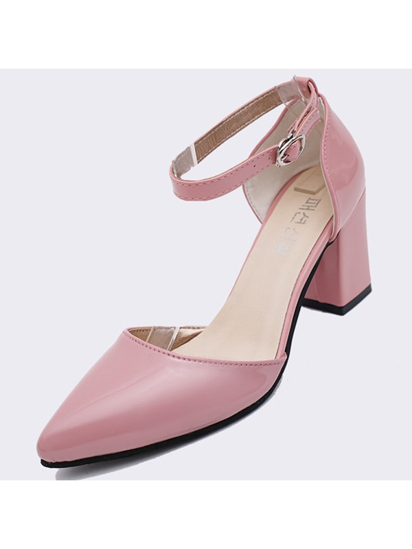 Patent Leather Line-Style Buckle Block Heel Stylish Pumps
