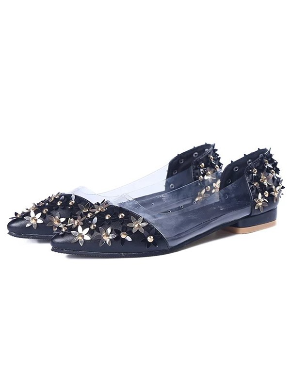 PU 3D Floral Slip-On Pointed-Toe Women's Flats
