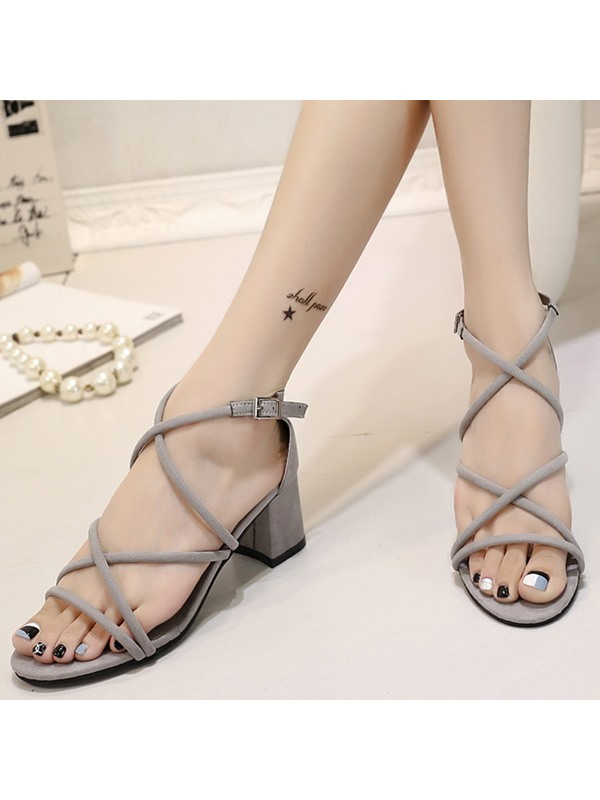 PU Buckle Heel Covering Gladiator Block Heel Women's Sandals