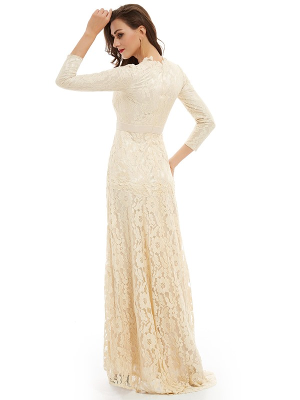 V Neck Long Sleeves Lace Long Evening Dress