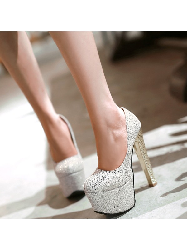 PU Charming Slip-On Lace Sky High Women's Pumps
