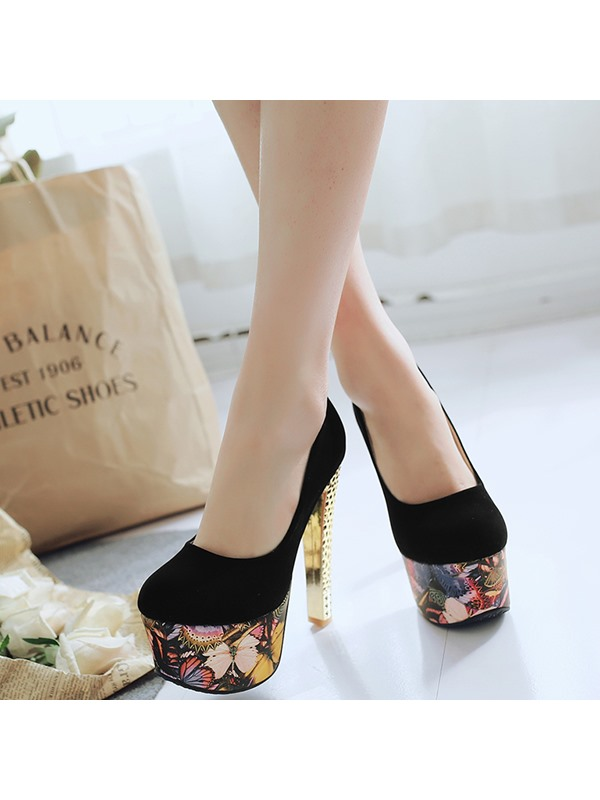 PU Slip-On Rhinestone Print Women's Pumps