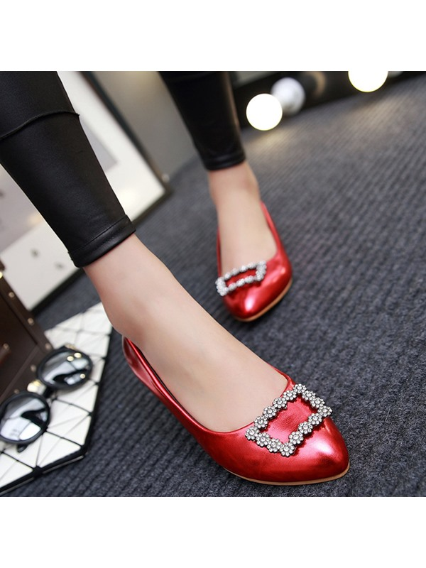 PU Slip-On Rhinestone Pointed Toe Stylish Women's Flats