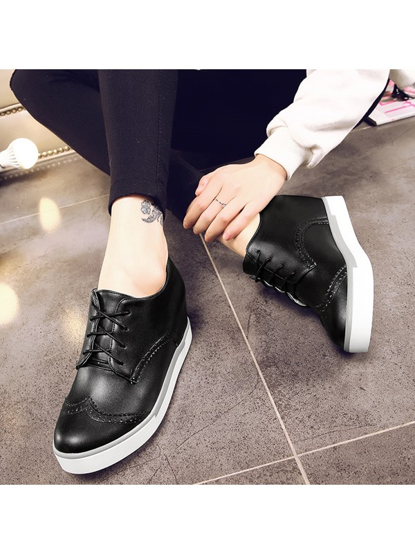 PU Lace-Up Hollow Hidden Heel Plain Women's Sneakers