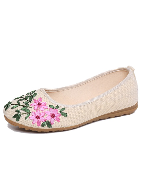 Cotton Slip-On Embroidery Plant Women's Flats