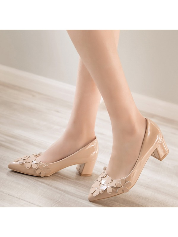 PU Slip-On 3D Appliques Block Heel Women's Pumps