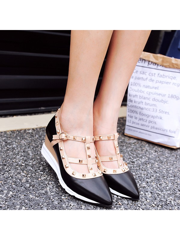 PU T-Shaped Buckle Rivets Pointed Toe Women's Shoes
