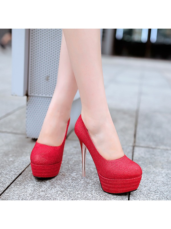 PU Slip-On Plain Platform High Heel Women's Pumps
