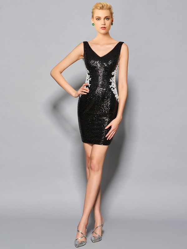 Gorgeous Sheath V-Neck Beaded Short Cocktail Dress