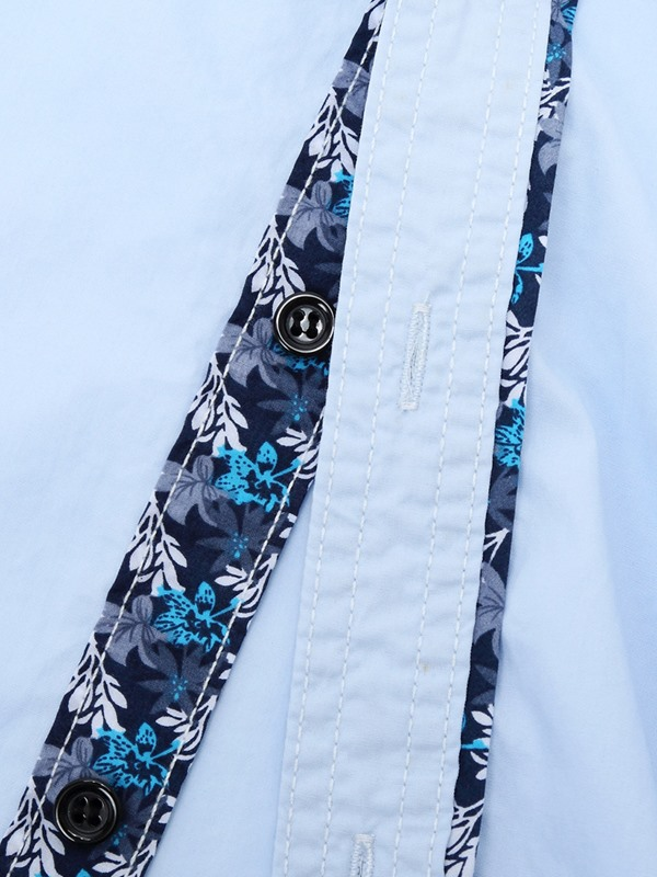 Chest Embroidery Lacework Men's Casual Shirt