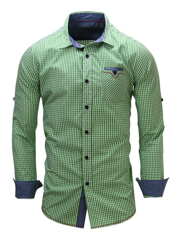 Mini-Plaid Chest Pocket Men's Causal Single-Breasted Shirt